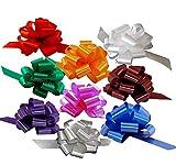 Christmas Gift Wrap Pull Bows - 5' Wide, Set di 9, Rosso, Verde, Blu, Oro, Bianco, Argento, Nastri Compleanno, Fiocchi per Regali, Regali di Natale