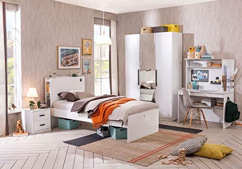 Dafnedesign.com – cameretta completa per ragazzo o bambino - comprende: letto , materasso , coperte , comodino , scrivania , sedia , armadio , lampadario , tappeto , lampada - una camera da letto dal design moderno - [serie: dafne-bianco] - (df11)