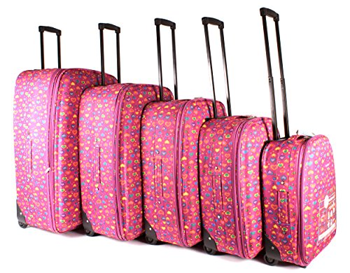 tc-hp-02 Fuchsia Hearts bagages Lot de 5 – Funky léger Aero Voyage Valise
