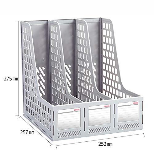 QFFL zhuomianshujia Ordner-Aufbewahrungsbox Hips-Material Multilayer-Datei-Bar-Aufbewahrung Office-Regal (3 Farben, 2 Styles) Bücherregale (Farbe : Weiß, größe : 25.3×25.7×28cm) - Weiß 3 Regal Bar