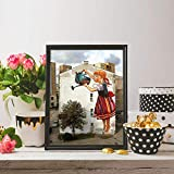 SYFDW Leinwand Bild Mädchen Blumen Gießen Poster Und
