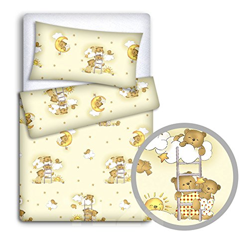 Baby Bedding Set Pillowcase + Duvet Cover 2PC to FIT Junior Bed (Ladder Cream)