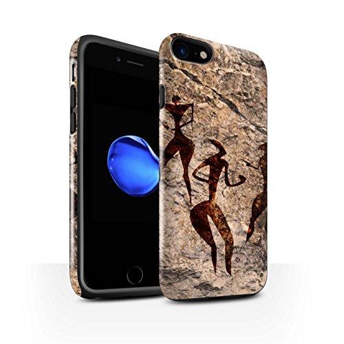 STUFF4 Glanz Harten Stoßfest Hülle / Case für Apple iPhone 8 / Sammler/Rot Muster / Höhlenmalerei Kollektion Tanz/Musik