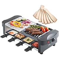 VonShef Half Rustic Stone Half Traditional Raclette Grill with Variable Temperature Control includes 8 Spatulas & 8 Mini Pans