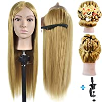 "26""- 28"" Mannequin Head 100% Synthentic Fiber Hairdresser Training Head Cosmetology Manikin Doll with Free Table Clamp Stand"
