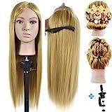 Testa di manichino 66- 71,1cm 100% fibra Synthentic parrucchiere formazione testa Cosmetologia manichino da bambola con free morsetto da tavolo supporto