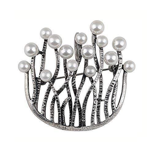 U Form Retro Broschen für Damen Fashion Kleid Zubehör Pearl Brosche Pins machen
