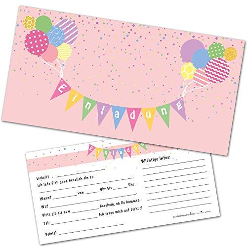 Postkartenschmiede 12 Einladungskarten Kindergeburtstag mit Luftballons – Einladungen Geburtstag Jungen Mädchen mit Umschlägen - Einladungskarten Kinder (rosa)