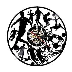 Idea Regalo - WYJW Orologio da Parete da Calcio in Vinile da Record - Unique Modern Art - Silent Not Tick - 3D LED Design Orologio da Parete Deco Nero/Diametro 30cm