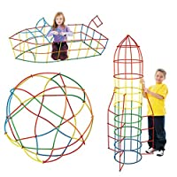 AiSi Big Straws & Connectors Kit Straws Construction Building Blocks Toy Construct Car Plane Boat Fort Tower Tunnel Bridge Multi Color