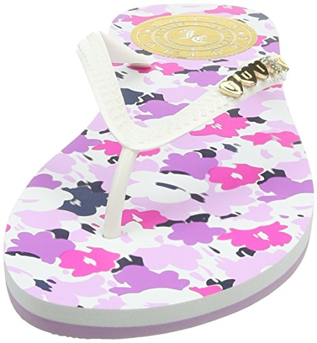 Juicy Couture Leenaa, Tongs Femme Blanc - White (White/Seaside Floral 002)