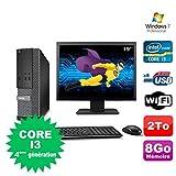 Lot PC Dell Optiplex 3020 SFF I3-4130 3.4GHz 8Go 2To DVD Wifi W7 + Ecran 19' (Reconditionné Certifié Grade A)