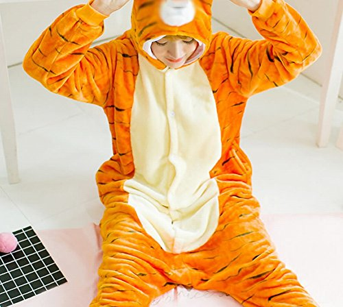Unisex Adult Pyjamas - Plüsch One Piece Cosplay Tier Kostüm Winter Verdickung Freizeitbekleidung,Zahl,L