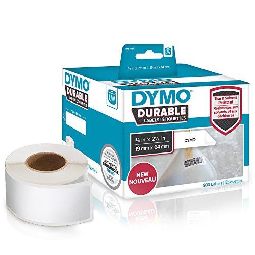 DYMOLW Étiquettes industrielles résistantes pour étiqueteuses LabelWriter, plastique blanc, 19x 64mm, 2 rouleaux de 450 (1933085)