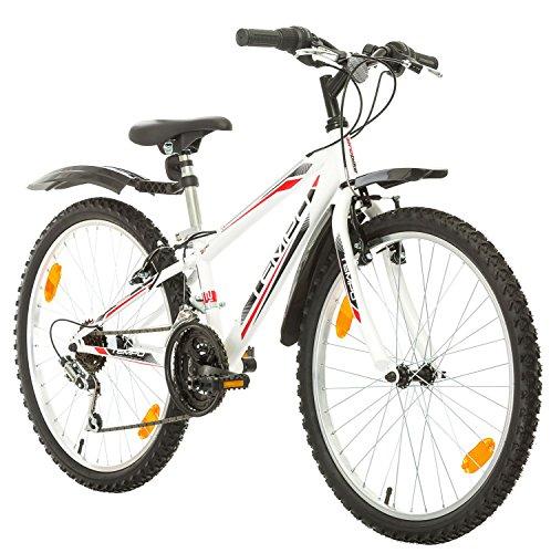 24 Zoll, CoollooK, TEMPO, Jugend Fahrrad,Mountainbike MTB,hardtail, Rahmen 28 cm,18-GANG, Weiss (Weiß+Kotflügel, 279)