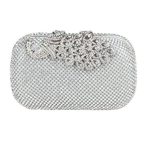 Eulovelyprice pochette da sera con pochette da sera con strass e pochette in strass di brillanti per le donne (argento)