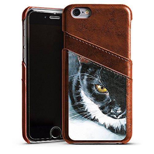 Apple iPhone 5 Housse étui coque protection Chat Noir et blanc Animal domestique Étui en cuir marron