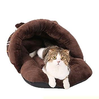 Lovely lapin modèles Cat Sac de couchage Kitten Maison Yurts Cat Mat Teddy Dog House (brown)