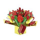Tenn Nun 3D Rose Karte, handgefertigt Pop Up Grußkarte mit Umschlag für Liebhaber, Frau, Freundin