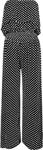 Home of Fashion Palazzo - Mono con Diseño de lunares y volantes, con top sin mangas negro blanco y negro XX-Large