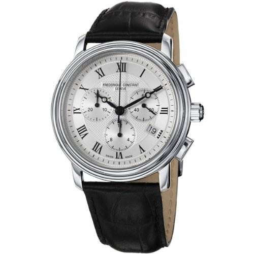 Herren-Armbanduhr XL Classics Collection Chronograph Quarz Leder, silber/schwarz, FC-292MC4P6 ()