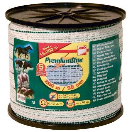 *Band Prem.Line, 200m, 38mm, weiß/grün, 6×0,2 Niro,4×0,2 Cu*