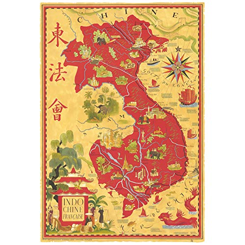 Map Boucher 1945 French Indo-China Vietnam Pictorial Art Print Canvas Premium Wall Decor Poster Mural Karte Französisch Wand Deko -