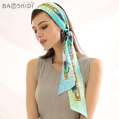 YRXDD Foulard di seta in autunno e inverno, due donne con estratto di erbe piccoli foulard di seta nastri ribbon , blu