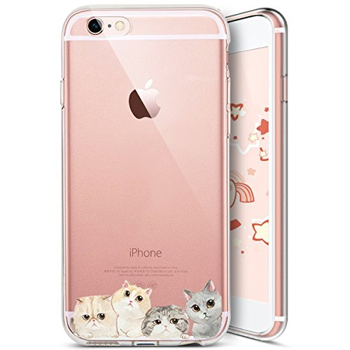 Coque iPhone 6S,Coque iPhone 6,Ukayfe [Liquid Crystal] Coque en Silicone Souple TPU Housse Etui de Protection avec Absorption de Choc et Anti-Scratch Silicone Transparent Coque [Créatif Chat Motif] Ét Chat#7