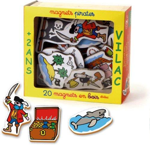 Vilac - 8011 - Jeux et Jouets en Bois - Coffret 20 Magnets Pirates