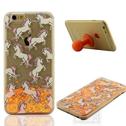 iPhone 6S Plus étui de Protection Liquide Eau 'Coeurs Écoulement' Style Clair Transparent Dur PC Dessin animé Cheval Blanc Motif Rigide Case Coque pour Apple iPhone 6 Plus 5.5