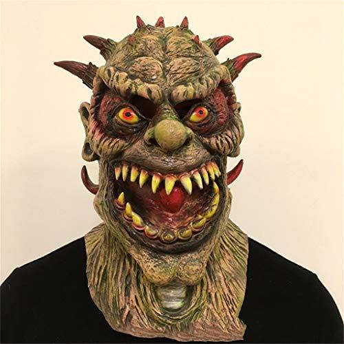 Gxdhome maschera di testa di lattice di halloween, demone di orrore mostro diavolo masquerade costume di raccapricciante fantasma di zombie sanguinante (colore : c)