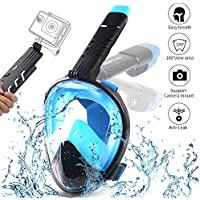OCUBE Full Face Snorkel Mask, Foldable Easy Breath Diving Snorkeling Mask with 180° Full view Detachable Action Camera Mount Anti-Fog & Anti-Leak Innovation Scuba Mask Diving Gear for Adults,kids