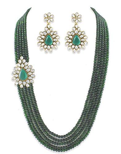 Karatcart Designer Green Kundan Multistrand Traditional Jewellery Set For Women