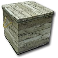 Aufbewahrungsbox Aufbewahrung Box Kiste faltbar mit Deckel und Trageseil aus Stoff im Holz Retro-Look (Quader, grau) preisvergleich bei kinderzimmerdekopreise.eu
