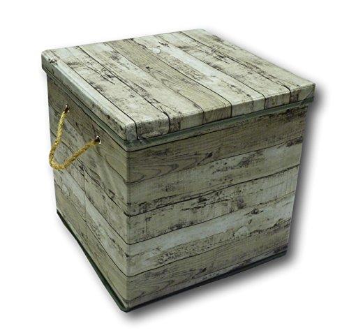 Aufbewahrungsbox Aufbewahrung Box Kiste faltbar mit Deckel und Trageseil aus Stoff im Holz Retro-Look (Quader, grau) (Truhe Werkzeug Kasten)