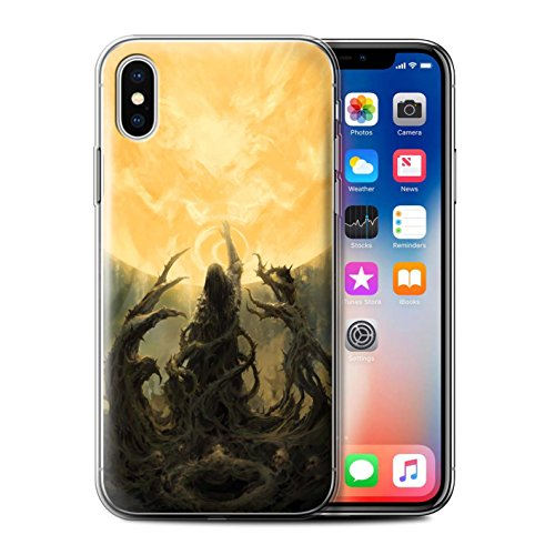 Offiziell Chris Cold Hülle / Gel TPU Case für Apple iPhone X/10 / Rotes Band-Engel Muster / Unterwelt Kollektion Sonnengott/Reben