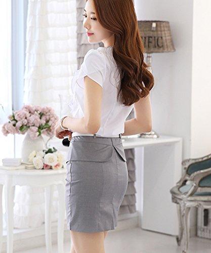 Cheerlife Damen Kurzarm V-Ausschnitt Bluse mit Volant Rüschenbluse Slim Fit Hemdblusen Hemd OL Business Tunika Oberteil Chiffonshirts Weiß