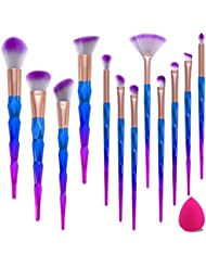 Missspicy 12 Pcs Pinceaux Maquillages Licornes Brosse a Maquillage, Pinceau Fond de Teint Ombre à Paupières Eyeliner Yeux Visage Poudre Cosmétiques Brosse