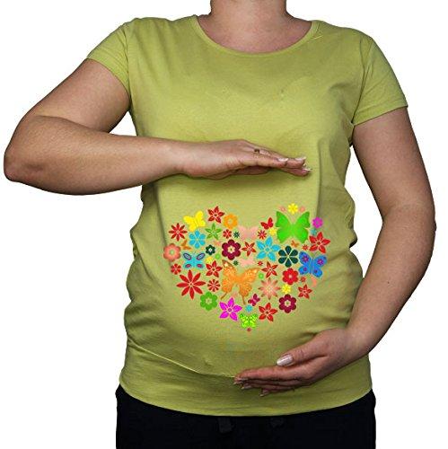Shirt Lime Für Green Dress Frauen (Für die Schwangerschaft, Größe 36-46, Schmetterling, Herz Love Top Tunika Shirt)