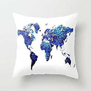 Funda de cojín para sofá y sofá de lona cuadrada (45 x 45 cm), diseño de mapa del mundo
