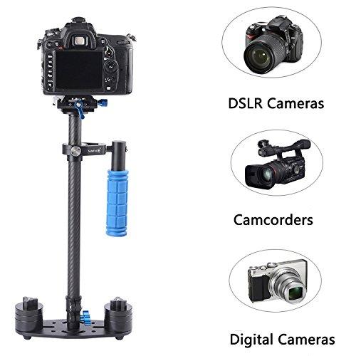 """Videokamera Stabilisator, FOTOWELT SF-06 Kohlefaser 24 \""""/ 60cm Steadycam dslr mit Schnellwechselplatte 1/4 \'\' Schraube für DSLR und Videokameras bis zu 3kg"""