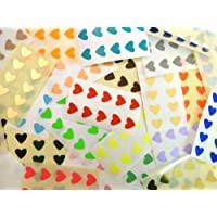 280 Labels, 13x12mm Hearts, Mixed Colour Code Stickers, Self-Adhesive Sticky Coloured Heart Labels