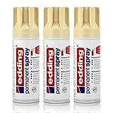 3x edding Permanent Spray hellelfenbein 200 ml Premium Acryllack, RAL 1015