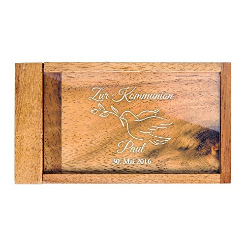 Magische Geldgeschenkbox mit Gravur – Zur Kommunion – Personalisiert mit [Wunschnamen] und [Datum] – Knobelspiel als Verpackung für Geldgeschenke oder Gutscheine – Geschenkidee für Kommunionkinder