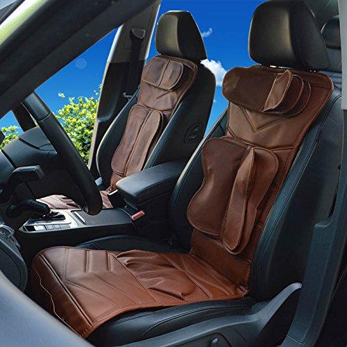 AMYMGLL Massage-Stuhl Hals, Rücken und Sitz Airbag Squeeze Massagekissen für Auto und Haus Beheizte Sitzmassage , brown heating single seat - Beheizte Wellness-kissen