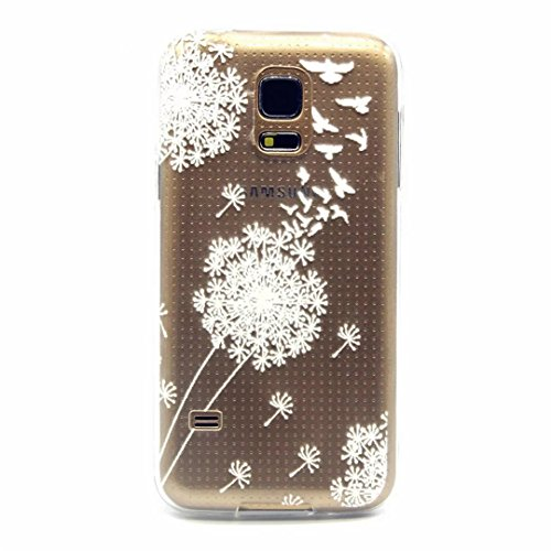 MUTOUREN Samsung Galaxy S5 Mini case cover Mobile phone protective cover TPU silicone transparent clear thin silicone anti scratch bag case with simple patterns- White Dandelion Dove