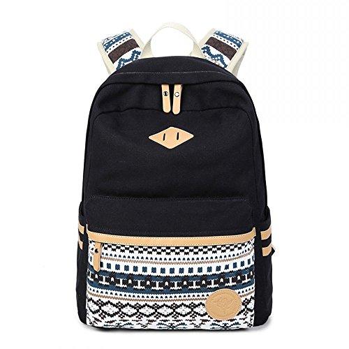 Ambielly Scuola Style Zaini ispessito borsa di tela spalla del computer portatile Daypack scuola zaino causale borsa (Nero-1)