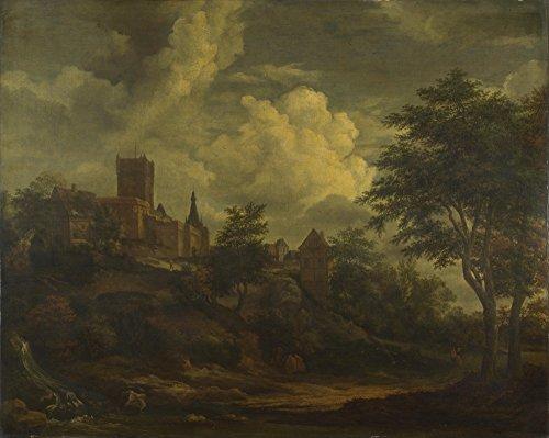 Das Museum Outlet-Imitator von Jacob van Ruisdael-Eine Castle on a hill by a River-poster print Online kaufen (76,2x 101,6cm)