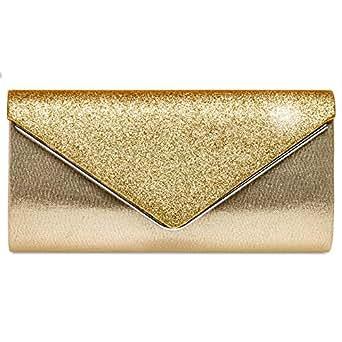891f3beea6510 Caspar TA511 elegante Damen Envelope Glitzer Clutch Tasche Abendtasche